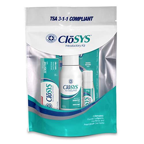 CloSYS Oral Care Trial Size Kit, Sensitive Mouthwash (3.4 oz), Fluoride Toothpaste (.75 oz), Fresh Breath Oral Spray (.25 oz), Travel Size, TSA Compliant