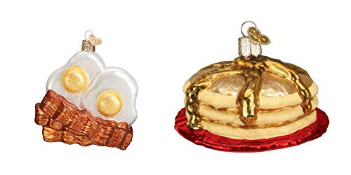 Old World Christmas Eggs and Bacon and Short Stack Set of Glass Blown Ornaments