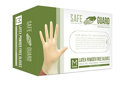 SAFEGUARD Latex Powder Free Gloves, Medium, 100 Count