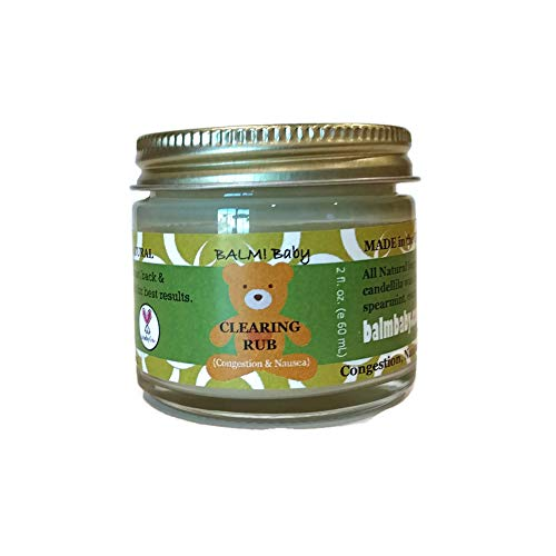 BALM! Baby Eucalyptus CLEARING RUB - Natural Chest & Tummy Rub for Stuffy Noses & Chests and Nausea - 2 oz Glass Jar {Made in The USA!}