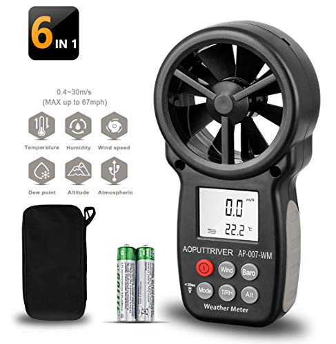 Digital Anemometer Barometer AP-007WM Handheld Anemometer, Wind Speed Meter for Wind Speed/Temperature with Wind Chill & Relative Humidity, Altitude, Barometric Pressure measure for HVAC CFM Shooting