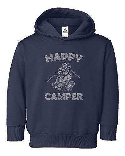 Happy Camper Cool Camping Vintage Funny Retro Design Little Kids Pullover Hoodie Toddler Sweatshirt Navy