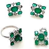Stazzle Smile, Sparkle & Shine Citrine Gemstone Jewelry Set For Women Bridal Jewelry (Earring Ring Pendant)