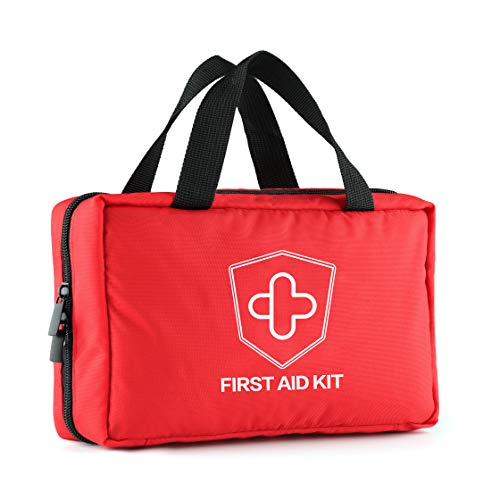 Mini First Aid Kit for Men Dad Husband 220 Pieces Compact Medical Emergency Survival Kit, Perfect for Car, Travel, Home, Workplace, Vehicle, Camping (Red-M)