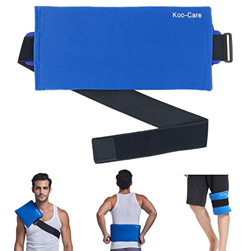 Koo-Care Waist & Lower Back Large Gel Ice Pack & Wrap with Long Strap Flexible Hot Cold Therapy Pack for Shoulder, Belly, Thigh, Entire Knee, Shin - Great for Injuries, Sprain, Bruise - 15.5' x 7.3'