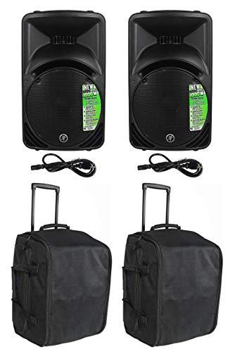 Mackie SRM450V3 SRM450-V3 1000 Watt 12' Powered Active PA Speaker Bundle with Rockville SB12L Rolling Travel Bag For 12' DJ PA Speakers w/Carry Handle with Wheels