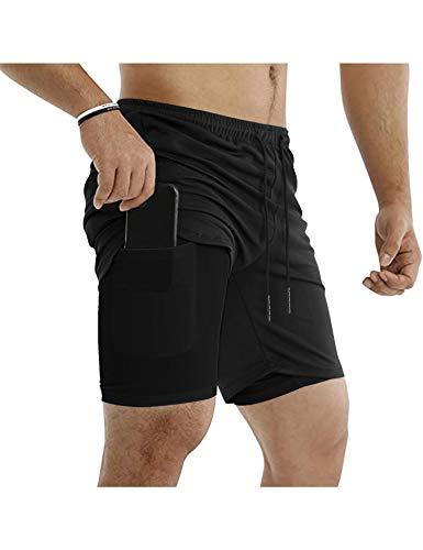 COOFANDY Men's Fitness Running Shorts Double Layer Elastic Waistband Sport Short