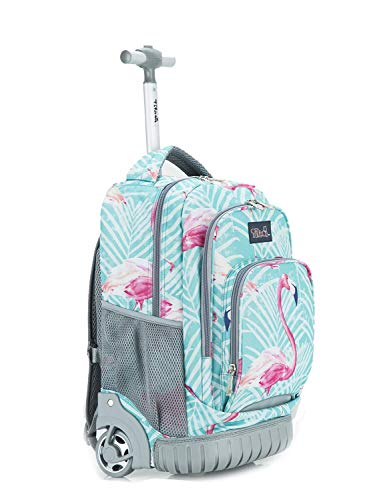 Tilami Kids Rolling Backpack 18 inch Boys and Girls Laptop Backpack, Flamingos