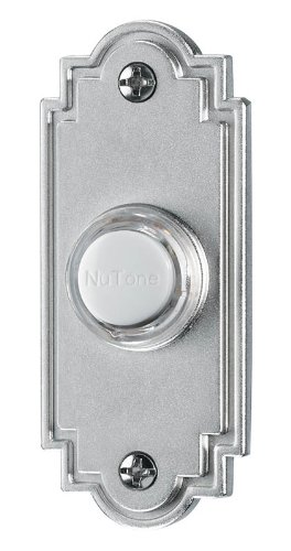 NuTone PB15LSN Wired Lighted Door Chime Push Button, Satin Nickel
