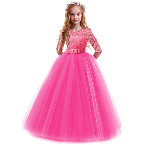 IBTOM CASTLE Spring Flower Girl Wedding Bridesmaid 3/4 Sleeves Kids Floral Lace Pageant Communion Princess Dress Prom Evening Dance Gown Hot Pink 7-8 Years
