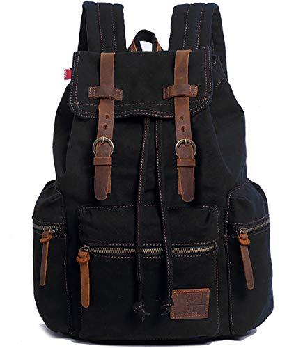 HuaChen Vintage Travel Canvas Leather Backpack for Men,Computers Laptop Backpacks Rucksack,Shoulder Camping Hiking Backpacks School Bag Bookbag for Men Women AUGUR (M32_Black_L)