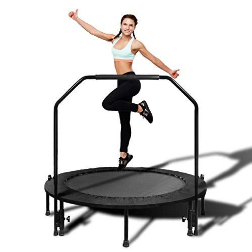 MOVTOTOP Foldable Mini Trampoline Rebounder, Indoor Fitness Trampoline with Handrail and Safety Pad, Exercise Trampoline Rebounder for Kids Adults Indoor/Garden Workout (Black 2, 48 Inch)