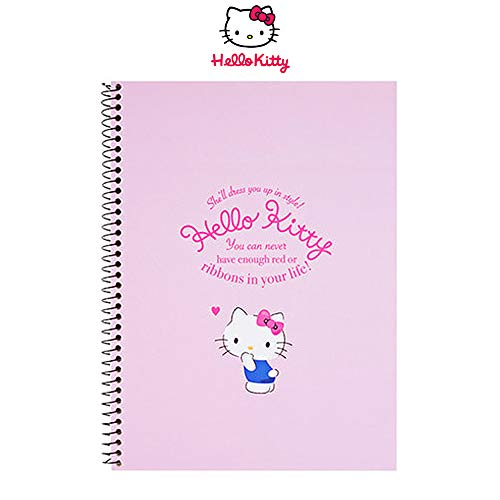 Hello Kitty Spiral Un-Ruled Sketchbook Sketch Notebook 1pc (White/Pink) (Pink)