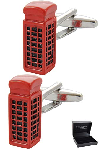 COLLAR AND CUFFS LONDON - Premium Cufflinks with Gift Box - London Telephone Box - Phone England British Kiosk Crown - Red Color