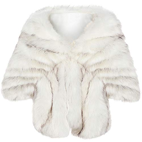 BABEYOND Womens Faux Fur Collar Shawl Faux Fur Scarf Wrap Evening Cape for Winter Coat (White Fox, Small)