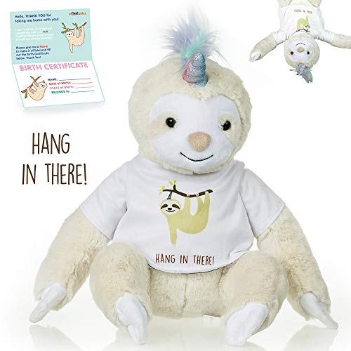 Sloth Unicorn stuffed animal - The Original Hang In there Large Slothicorn plush animals toy. Sloth gifts w/ Velcro Hands for Birthdays, Valentines or Christmas. Cute, Fun, Soft, and Pre Gift Wrapped