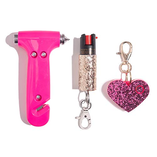 Super-Cute Safety Kit - Includes Emergency Auto Escape Seat Belt Cutter & Window Break Tool, Personal Security Alarm, and Self Defense Pepper Spray - Pink, Pink & Rose Gold