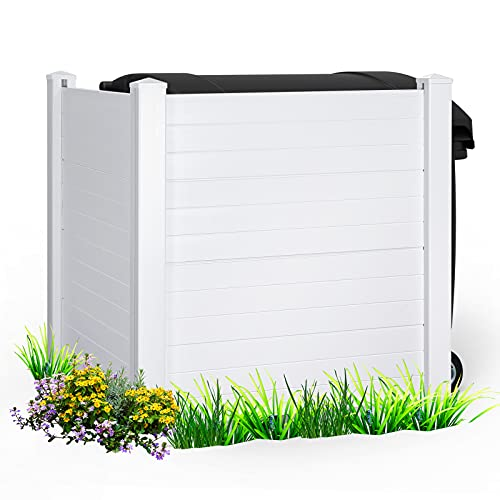"""TOOCA Trash Enclosure Fence Panels, Privacy Vinyl Fencing Kit for Outdoor Shower Air Conditioner Cover Pool Pump AC Units, 4ft Paintable PVC Gate, 48W"""" x 48H"""" White Screen, Easy Installation"""