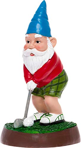 GreenLighting Golfer Garden Gnome Outdoor Figurine - Hand Painted Funny Novelty Lawn Statue Decoration for Front Yards, Flowerbeds and Offices