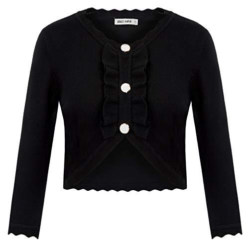 GRACE KARIN 3/4 Sleeve Button Down Bolero Jacket Shrug for Teen Girls Black L