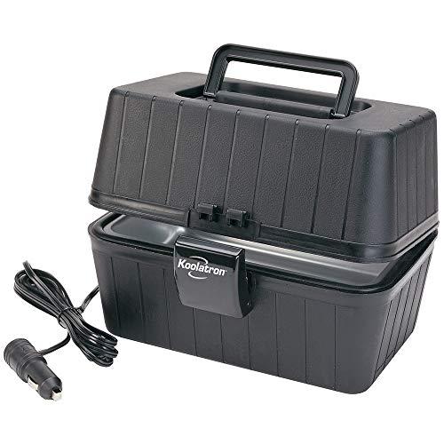Koolatron 12V Classic Black Heating Lunch Box Stove 1.6 Qt (1.5 L), Classic Construction Worker Lunchbox for Car, SUV, Truck, RV, Boat