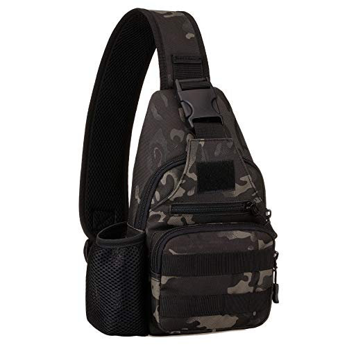 Tactical Military Chest Sling Bag Water Resistant MOLLE Shoulder Backpack Mens One Strap Daypack with Water Bottle Holder