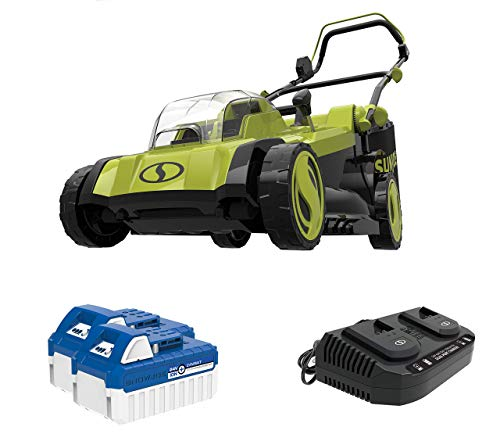 Sun Joe 24V-X2-17LM 48-Volt 17-Inch Mulching Walk-Behind Lawn Mower w/Grass Catcher, Kit (w/ 2X 4.0-Ah Battery and Charger)