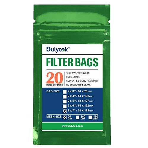 Dulytek Premium Nylon 20 Pcs Filter Bags, 25 Micron, 2' x 7', Double-Stitching, Zero Blowouts
