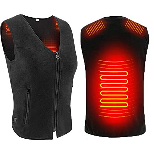 Ghongrm Black USB Battery Heated Gilet for Men/Women,Lightweight Washable USB Heating Vest with 2 Heating Zones and 3-Level Temperature,S Portable Heat Pad for Motorcycle Fishing Skiing