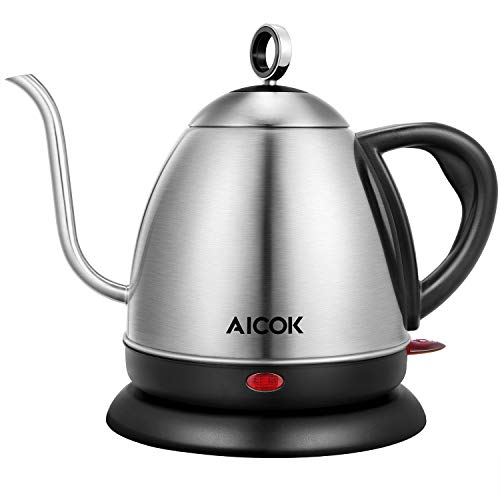 Electric Kettle, AICOK Electric Gooseneck Kettle, Pour Over Kettle for Coffee or Tea, 1L Fast Heating Stainless Steel Water Kettle with Boil Dry Protection & Automatic Shutoff, 1000W