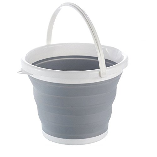 Zealetc Portable Collapsible Bucket 2.65 Gallon, Fold-able Water Container for Fishing, Camping, Aquarium Gravel Clean Car Washing or Home Storage, Grey (Grey+White)