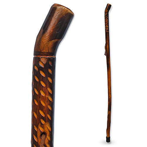 RMS Natural Wood Walking Stick - 48 Inch Handcrafted Wooden Hiking Stick and Trekking Pole with Wrist Strap - Ideal for Men or Women with Active Outdoor Lifestyle (Rain Drop Handle, 48 Inch)