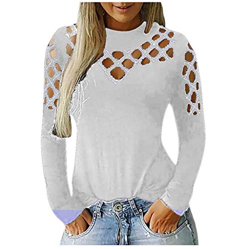 NANTE Top Casual Loose Blouse Long Sleeve Cut Hollow Out Rhinestone T Shirt Tee Shirts Women's Tops Pullover Clothes … (White, XL)