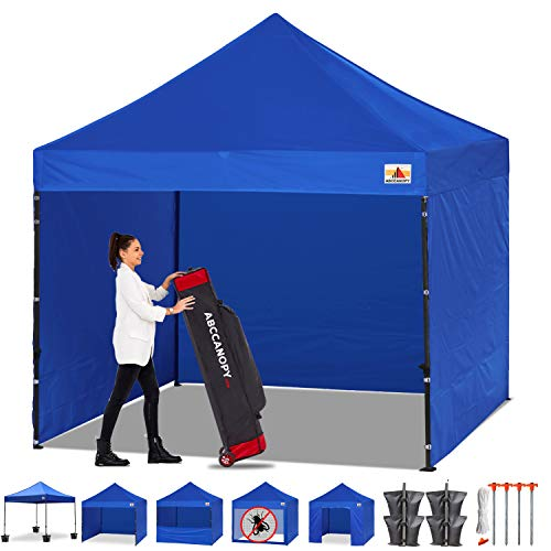 ABCCANOPY Canopy Tent Popup Canopy 10x10 Pop Up Canopies Commercial Tents Market stall with 6 Removable Sidewalls and Roller Bag Bonus 4 Weight Bags and 10ft Screen Netting and Half Wall, Royal Blue