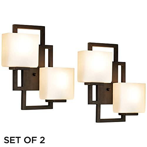 Lighting on The Square Modern Wall Light Sconces Set of 2 Bronze Hardwired 15 1/2' High 2-Light Fixture Square Opal Glass for Bedroom Bathroom Hallway - Possini Euro Design