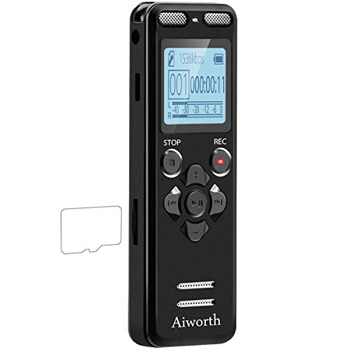 16GB Digital Voice Activated Recorder for Lectures - aiworth 1160 Hours Sound Audio Recorder Dictaphone Voice Activated Recorder Recording Device with Playback,MP3 Player,Password,Variable Speed