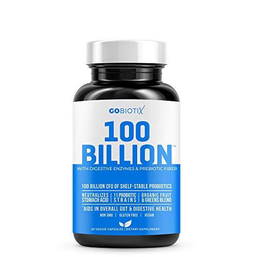 GoBiotix 100 Billion | Probiotics, Prebiotics & Digestive Enzymes Blend | High Potency with 100 Billion CFU | Enhanced with Organic Fruit & Organic Greens Blend | Vegan, Non-GMO | USA Made  30 Caps