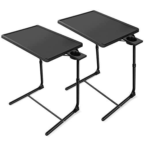 HUANUO Adjustable TV Trays - TV Tray Tables on Bed & Sofa, Adjustable Laptop Table as TV Food Tray, Work Tray with 6 Heights & 3 Tilt Angles Adjustable (2 Pack)