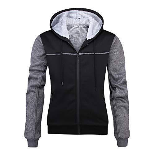 LUCKYMEN Men's Pullover Winter Fleece Hooed Hoodie Sweatshirt Jackets Full Zip Wool Warm Thick Coats Black