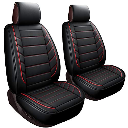 LUCKYMAN CLUB 2 Front Bucket Seat Covers Fit Most Sedan SUV Truck Fit for Chevy Silverado Traverse Cobalt HHR Equinox Cruze Malibu Impala (2 PCS Front, Black and Red)