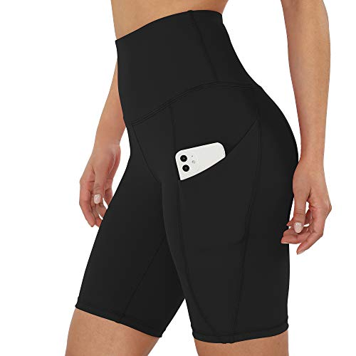 ODODOS Women's 9' High Waist Workout Bike Shorts, Yoga Running Compression Exercise Biker Shorts with Out Pockets, Black, Large