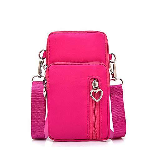 Women Nylon Cell Phone Purse Travel Crossbody Bag Wristband Sport Armband Wallet for Galaxy S10 Plus S9 Plus A50 A7 J7 Prime J7 V J7 Pro J4, Moto G7 Z4 Z3 G6 Play, HTC U12 Plus, OnePlus 6T (Hot Pink)