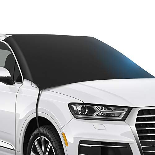 ZSVJYLO Car Windshield Snow Cover, Straps and Magnets Double Fixed Design Windproof Outdoor Car Snow Cover, Waterproof Frost Guard Winter Windshield Snow Ice Cover Protector Fits Most Cars and SUV