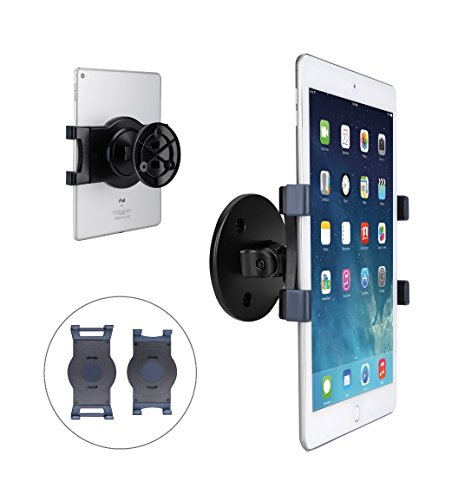 AboveTEK iPad Wall Mount, Swivel 360° Rotating Tablet Holder w/Two Brackets to Fit 6-13' Tablets, Horizontal/Vertical Tilt iPad Arm for Flexible Viewing Angles in Kitchen House Showroom Retail Store