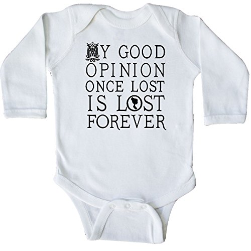 inktastic Jane Austen Good Opinion Quote Long Sleeve Creeper 6 Months White