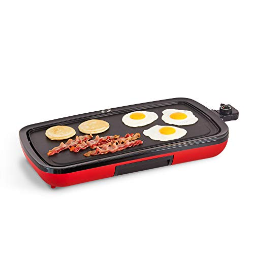 DASH DEG200GBRD01 Everyday Nonstick Electric Griddle for Pancakes, Burgers, Quesadillas, Eggs & other on the go Breakfast, Lunch & Snacks with Drip Tray + Included Recipe Book, 20in, Red