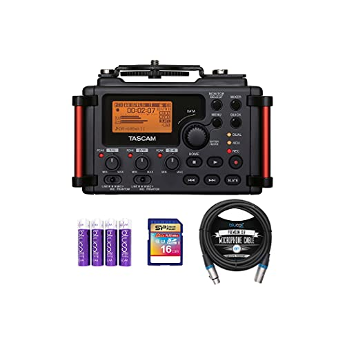 TASCAM DR-60DMKII 4-Channel Portable Audio Recorder for DSLR Bundle with 16GB SDHC Memory Card, Blucoil 10-FT Balanced XLR Cable, and 4 AA Batteries