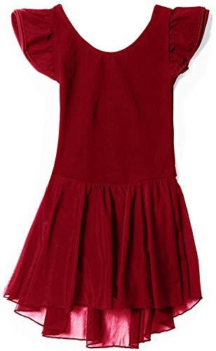 MdnMd Flutter Sleeve Dance Leotard Ballet Dress Clothes for Ballerina Girls (Age 6-8,Red)