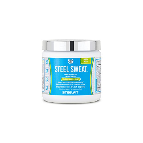SteelFit Steel Sweat - Fat Burning Pre Workout - Boost Metabolism - Increase Energy - Burn Fat and Calories - Sweat More - Lose Water Weight - 30 Servings - Green Apple