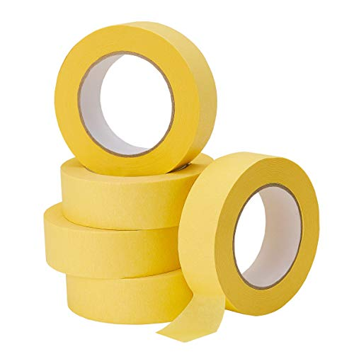 Lichamp 5-Pack Automotive Refinish Masking Tape Yellow 36mm x 55m, Cars Vehicles Auto Body Paint Tape, Automotive Painters Tape Bulk Set 1.4-inch x 180-foot x 5 Rolls